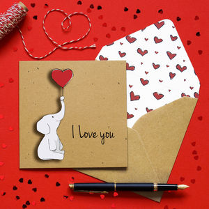 I Love You Elephant Personalised Card - love & romance cards