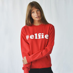 '#Elfie' Christmas Unisex Jumper Sweatshirt - christmas clothing & accessories