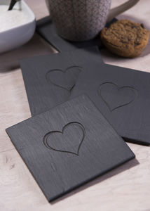 Heart Engraved Slate Coasters - placemats & coasters