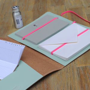 Recycled Leather Bee/Fluoro Writing Set