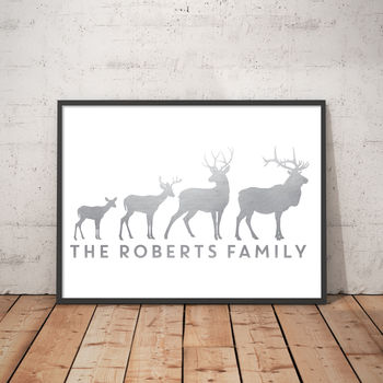 Personalised Stag Family Foil Print