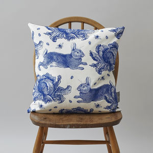 Blue Rabbit And Cabbage Cushion
