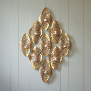 Gold Moroccan Wave Wall Tealight Holder - outdoor decorations