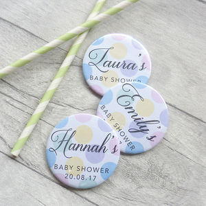 Polka Dot Baby Shower Badges