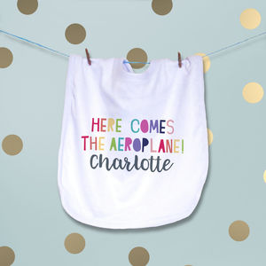 Here Comes The Aeroplane Personalised Baby Bib