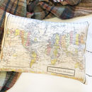 Map Of The World Cushion With Printed Message
