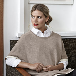 Charlie Lux Reversible Poncho With Lurex Trim - ponchos & wraps