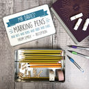 Personalised 'Marking Pens' Teacher's Tin Box