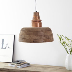 Industrial Natural Wood Pendant Light Copper