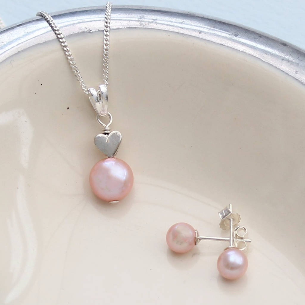 Pink pearl pendant with 6mm stud set by bish bosh becca pink pearl pendant with 6mm stud set aloadofball Choice Image