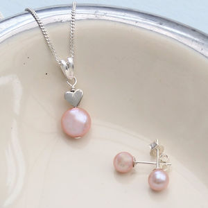 Pink Pearl Pendant With 6mm Stud Set - bridesmaid jewellery