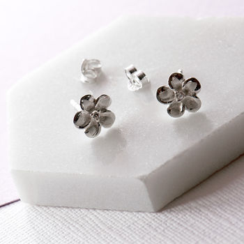 Plumeria Flower Sterling Silver Stud Earrings Cz Centre