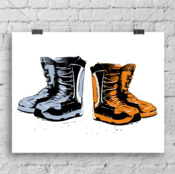 Blue and orange snowboard boots art print by lou boyce
