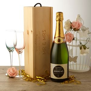 Personalised Champagne With Wooden Gift Box Wedding - personalised