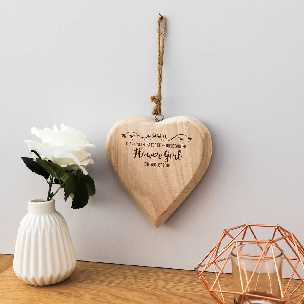 Personalised Thank You Flower Girl Heart Sign