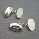 Rugby Ball Cufflinks Solid Silver
