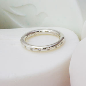 Silver Diamond Set Halo Ring