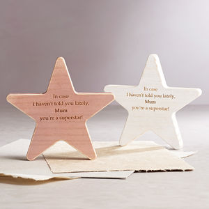 Personalised Mother's Day Wooden Star Keepsake - personalised mother's day gifts