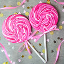 Giant Raspberry Vanilla Swirly Lollipop