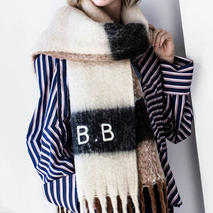 Personalised Chunky Knit Neutral Colour Blanket Scarf - christmas with free uk delivery