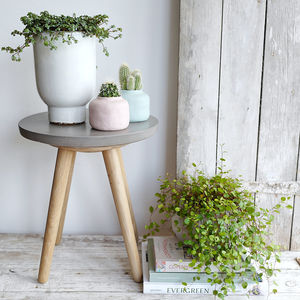 Concrete And Oak Side Table