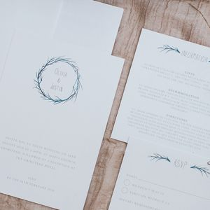 Watercolour Branch Invitation Set - order of service & programs