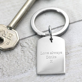 Engraved Silver Dog Tag Keyring
