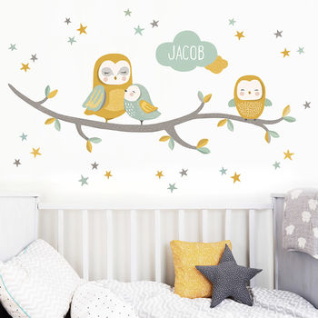 Owl Family Personalised Nursery Wall Sticker