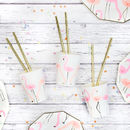 Neon And Gold Flamingo Pattern Party Cups