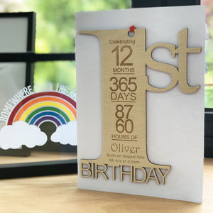 Personalised 1st Birthday Card Keepsake