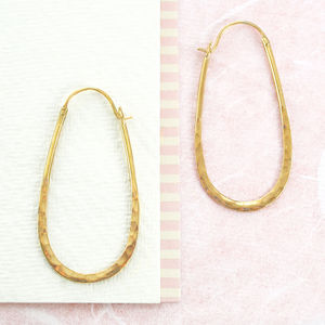 Battered Gold Small Oval Hoop Earrings - earrings