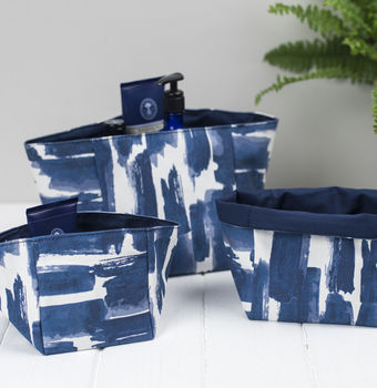 Paloma Fabric Storage Boxes, Abstract Blue Pattern