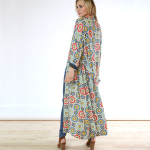 Lisbon Sunshine Bamboo Long Kimono Dressing Gown - women's fashion