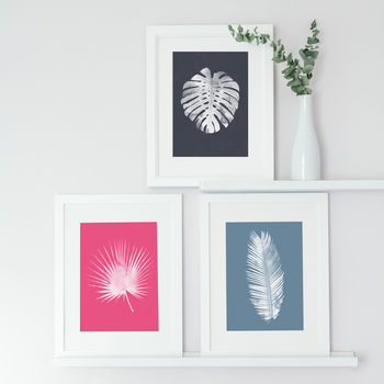 Set Of Three Bright Tropical Leaf Prints