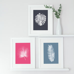 Set Of Three Bright Tropical Leaf Prints - nature & landscape