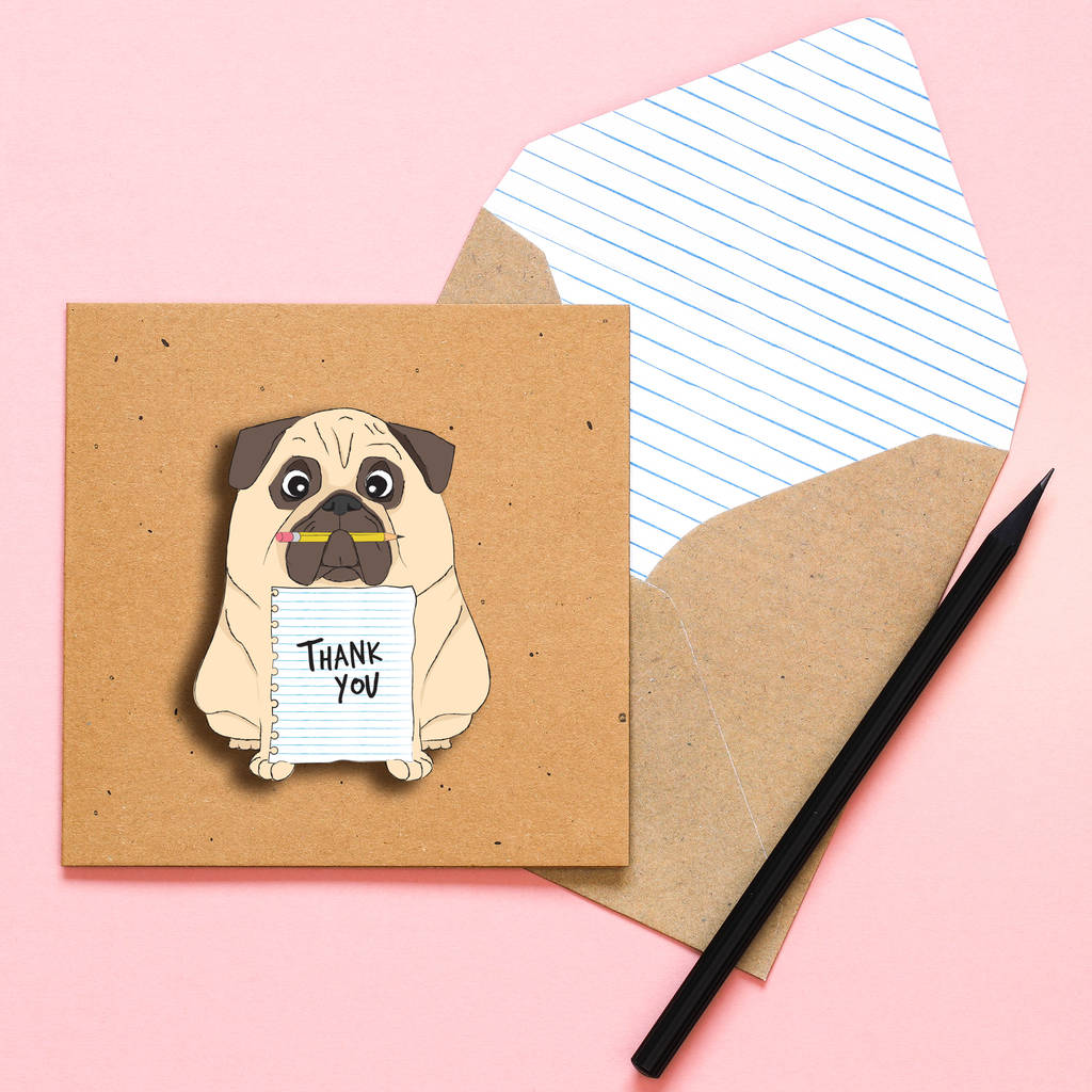 Handmade Thank You Pug Personalised Card By Tache