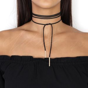 Black Tie Up Suede Cord Choker Necklace - chokers
