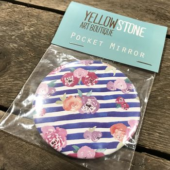 Floral Striped Pocket Mirror