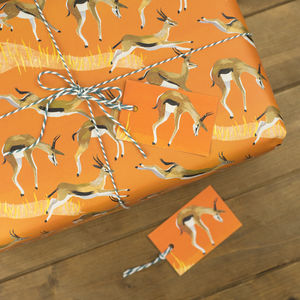 Galloping Gazelles Wrapping Paper