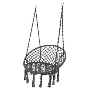 Grey Macrame Hanging Chair - kitchen