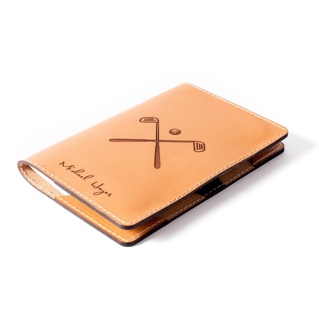 Tan Personalised Leather Golf Scorecard Holder Front
