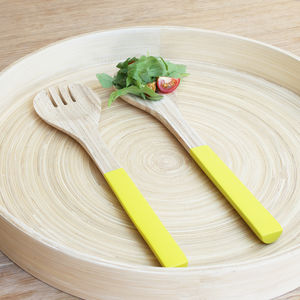 Yellow Dipped Bamboo Salad Servers - summer sale