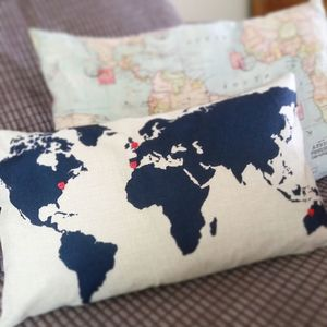 World Map Cushion Add A Heart As You Travel