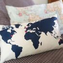 Personalised Map Cushion Add A Heart As You Travel