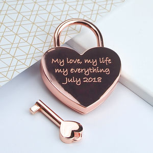 Personalised Rose Gold Love Padlock - home accessories