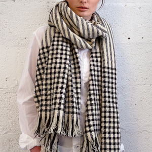 Check And Stripe Handwoven Ladies Scarf - blanket scarf trend