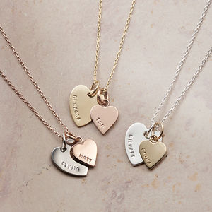 Personalised Solid Gold Double Heart Charm Necklace - necklaces & pendants
