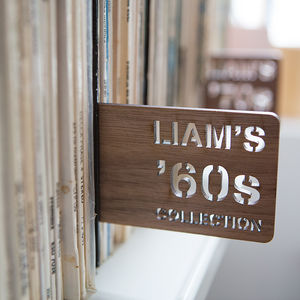 Personalised Walnut Record Divider - living room
