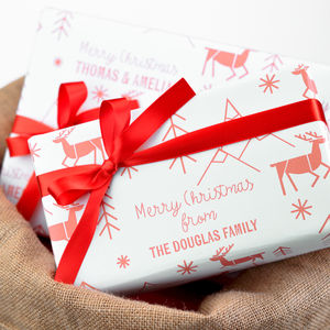Personalised Scandi Christmas Reindeer Gift Wrap Set