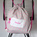 Girls Personalised Kit Bag Embroidered Tag